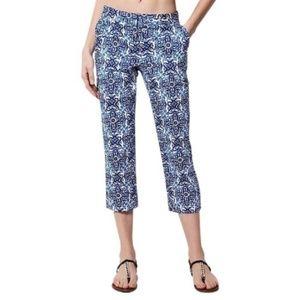 Milly Design Nation Blue Tile Print Capri Pants